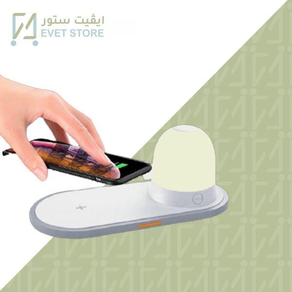 مصباح طاولة بطارية مع شاحن لاسلكي - موقع ايفيت ستور